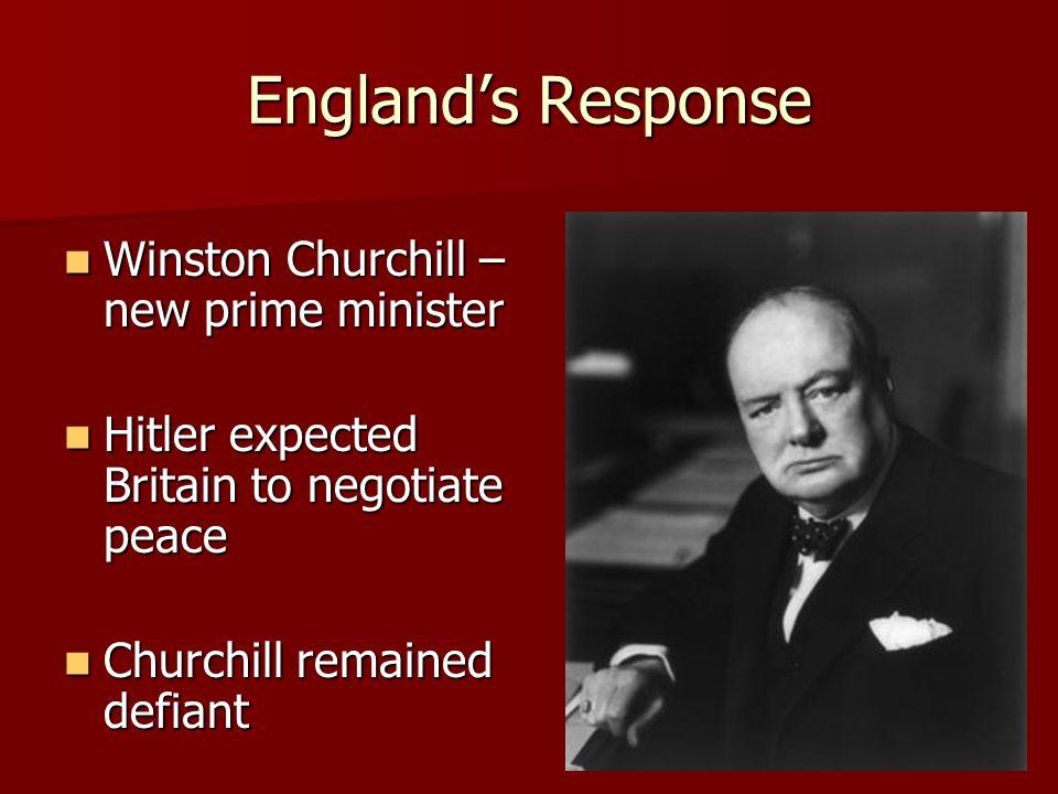 England's Response Winston Churchill – new prime minister Winston Churchill – new prime minister Hitler expected Britain to negotiate peace Hitler exp