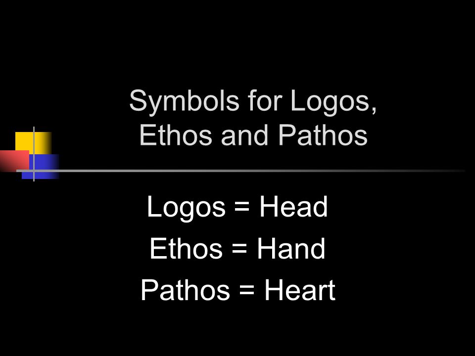 Symbols for Logos, Ethos and Pathos Logos = Head Ethos = Hand Pathos = Heart