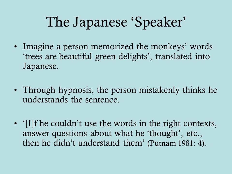 The Japanese 'Speaker' Imagine a person memorized the monkeys' words 'trees are beautiful green delights', translated into Japanese.