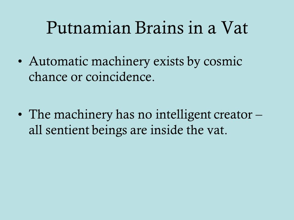 Putnamian Brains in a Vat Automatic machinery exists by cosmic chance or coincidence.