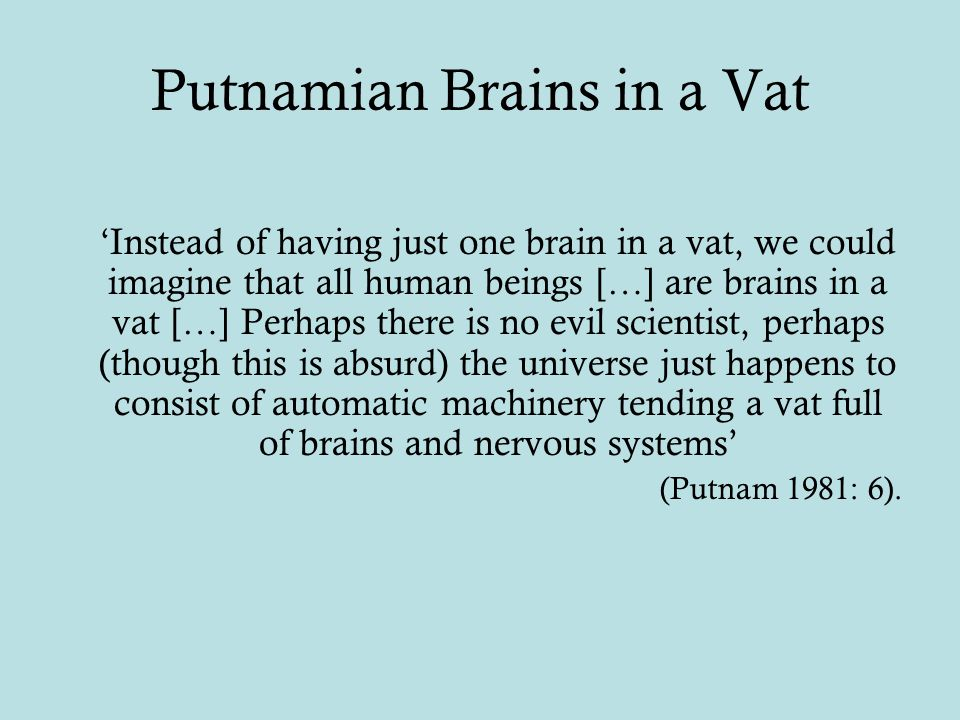 Putnamian Brains in a Vat 'Instead of having just one brain in a vat, we could imagine that all human beings […] are brains in a vat […] Perhaps there is no evil scientist, perhaps (though this is absurd) the universe just happens to consist of automatic machinery tending a vat full of brains and nervous systems' (Putnam 1981: 6).
