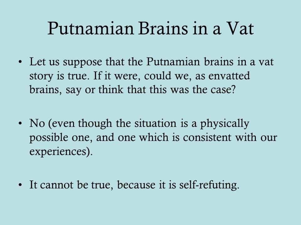 Putnamian Brains in a Vat Let us suppose that the Putnamian brains in a vat story is true.
