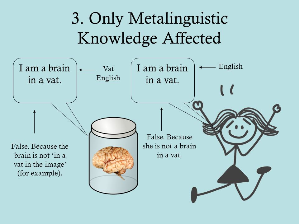 3. Only Metalinguistic Knowledge Affected I am a brain in a vat.