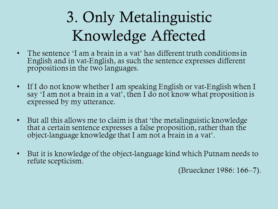 3. Only Metalinguistic Knowledge Affected The sentence 'I am a brain in a vat' has different truth conditions in English and in vat-English, as such t