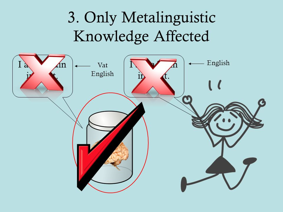 3. Only Metalinguistic Knowledge Affected I am a brain in a vat. Vat English English