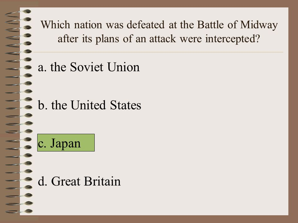 Which nation was defeated at the Battle of Midway after its plans of an attack were intercepted.