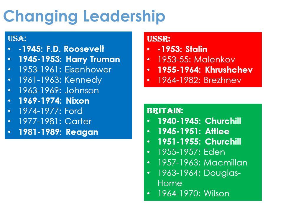 Changing Leadership USSR: -1953: Stalin 1953-55: Malenkov 1955-1964: Khrushchev 1964-1982: Brezhnev USA: -1945: F.D.
