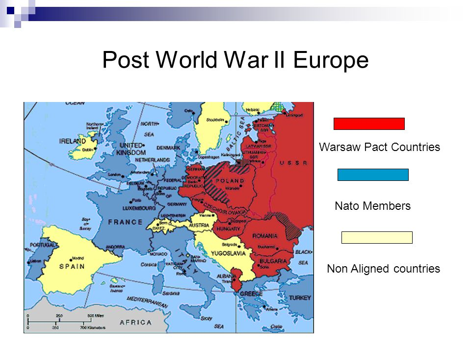 Post World War II Europe Warsaw Pact Countries Nato Members Non Aligned countries