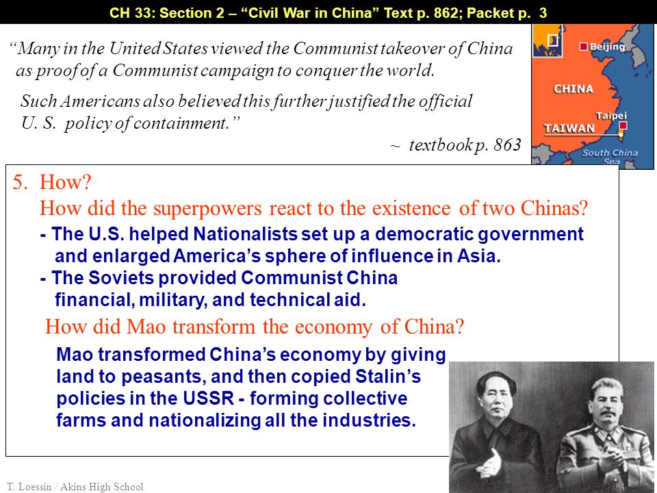 """Many in the United States viewed the Communist takeover of China as proof of a Communist campaign to conquer the world. Such Americans also believed"