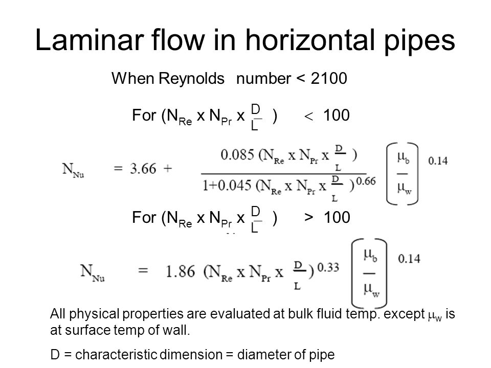 Example Water flowing at a rate of 0.02 kg/s is heated from 20 to 60  C in a horizontal pipe (inside diameter = 2.5 cm).