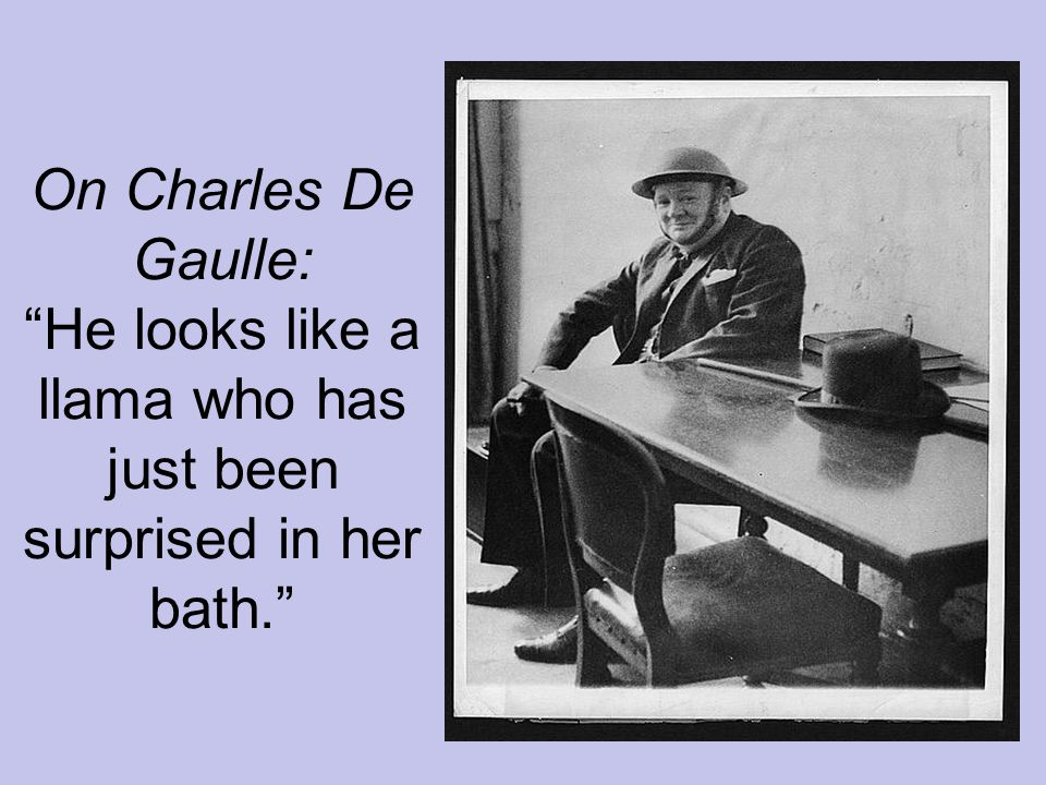 On Charles De Gaulle: He looks like a llama who has just been surprised in her bath.