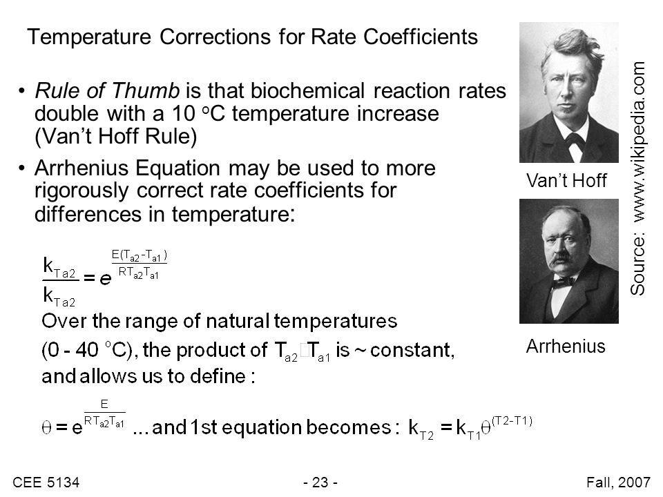 CEE 5134 - 23 - Fall, 2007 Temperature Corrections for Rate Coefficients Rule of Thumb is that biochemical reaction rates double with a 10 o C temperature increase (Van't Hoff Rule) Arrhenius Equation may be used to more rigorously correct rate coefficients for differences in temperature : Arrhenius Van't Hoff Source: www.wikipedia.com