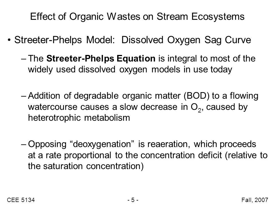CEE 5134 - 6 - Fall, 2007 Oxygen Sag Effects on Biological Communities