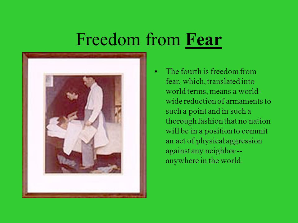 Freedom from Fear The fourth is freedom from fear, which, translated into world terms, means a world- wide reduction of armaments to such a point and in such a thorough fashion that no nation will be in a position to commit an act of physical aggression against any neighbor -- anywhere in the world.