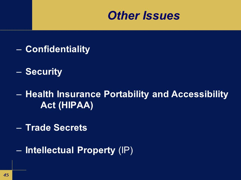 45 Other Issues –Confidentiality –Security –Health Insurance Portability and Accessibility Act (HIPAA) –Trade Secrets –Intellectual Property (IP)