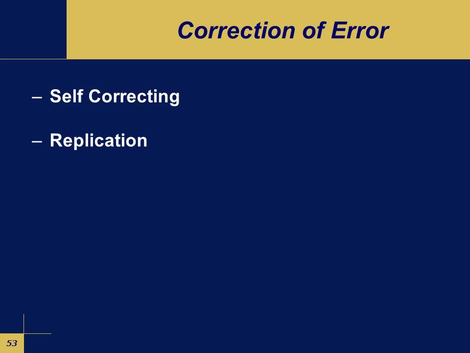 53 Correction of Error –Self Correcting –Replication
