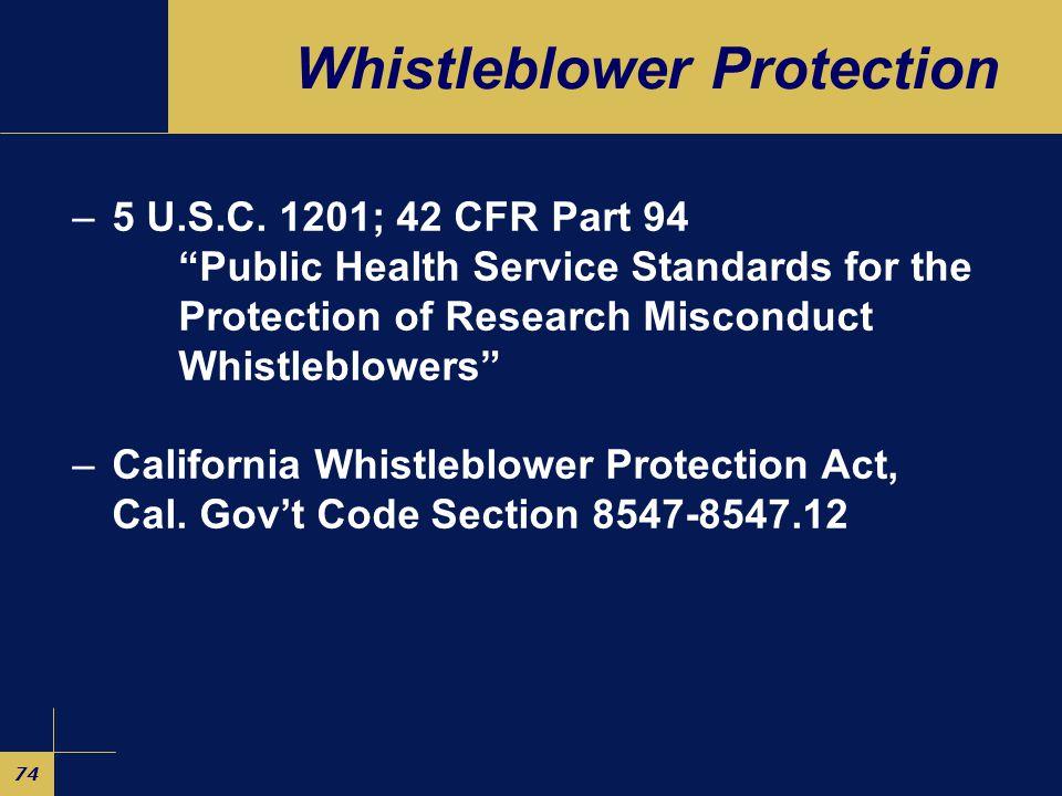 74 Whistleblower Protection –5 U.S.C.