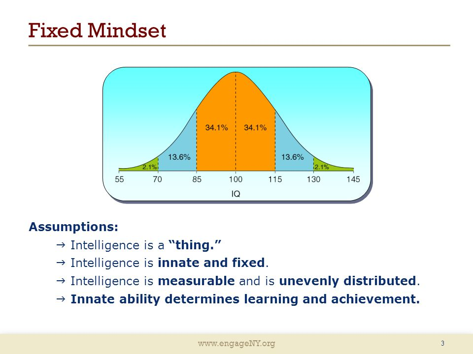 www.engageNY.org Fixed Mindset 3 Assumptions:  Intelligence is a thing.  Intelligence is innate and fixed.