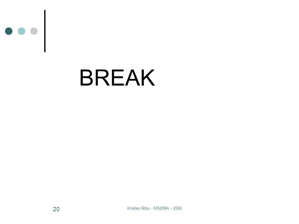Kirsten Ribu - MS008A - 2006 20 BREAK