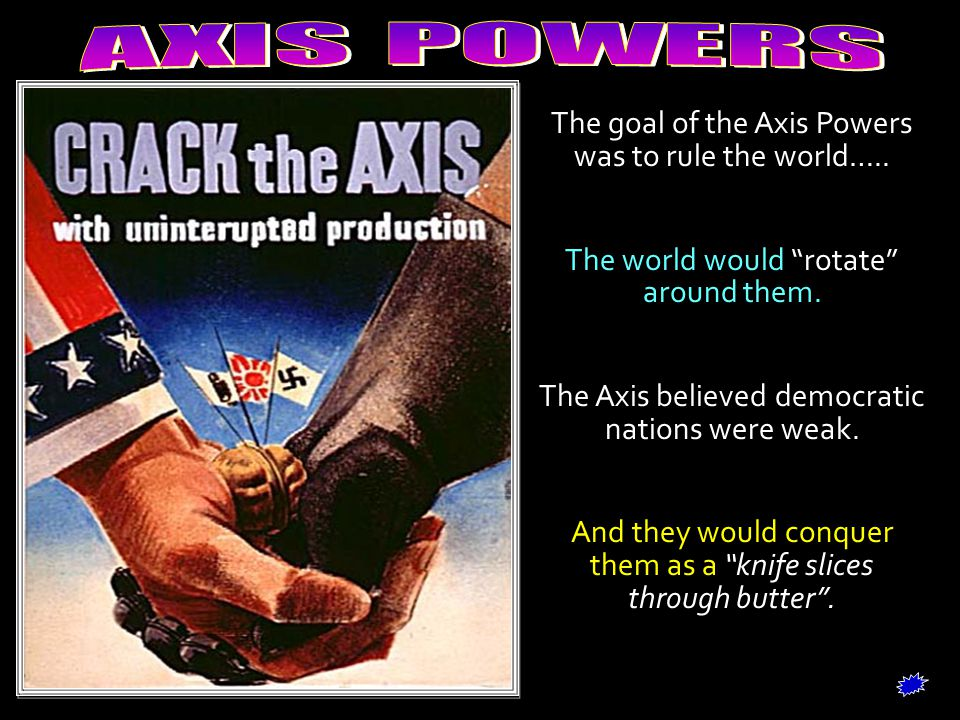 The goal of the Axis Powers was to rule the world…..