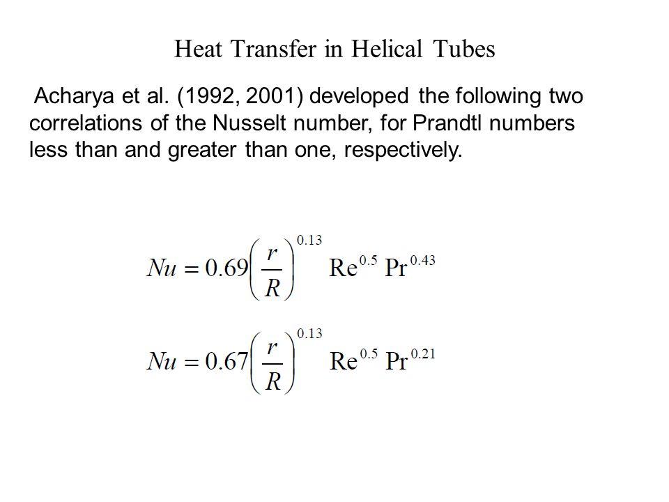 Heat Transfer in Helical Tubes Acharya et al.
