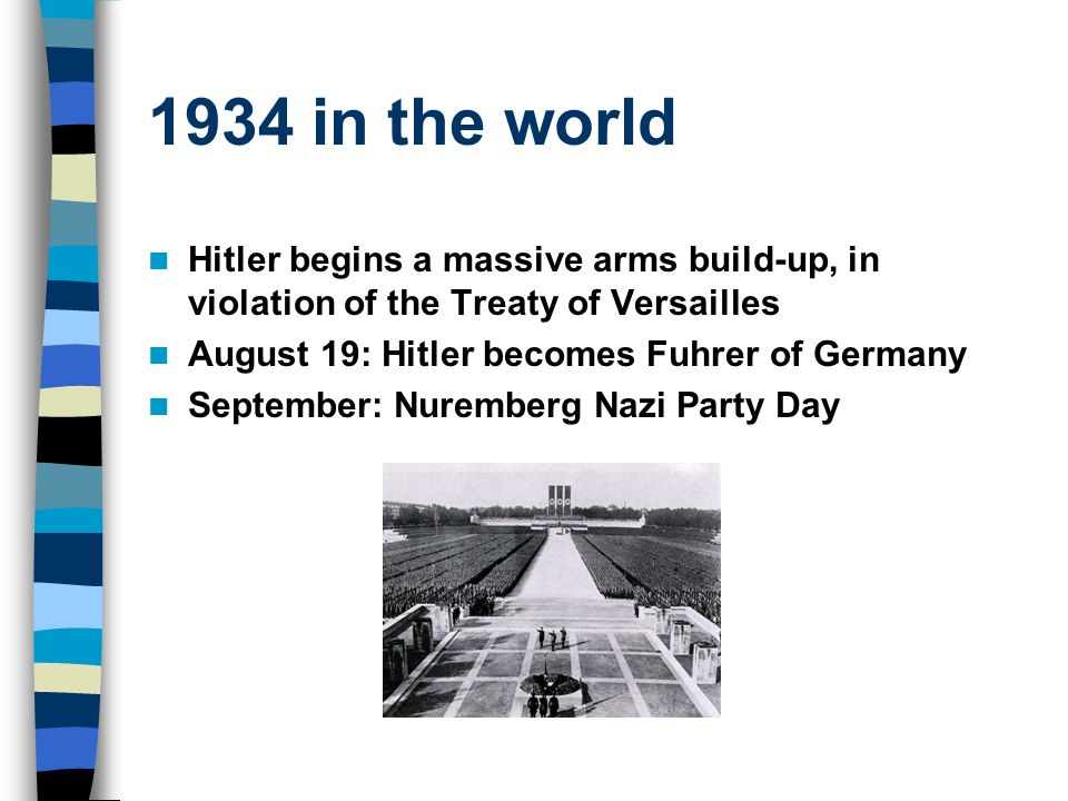 1934 in the world Hitler begins a massive arms build-up, in violation of the Treaty of Versailles August 19: Hitler becomes Fuhrer of Germany Septembe