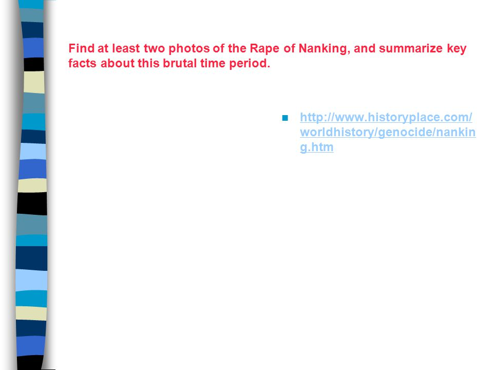 Find at least two photos of the Rape of Nanking, and summarize key facts about this brutal time period.
