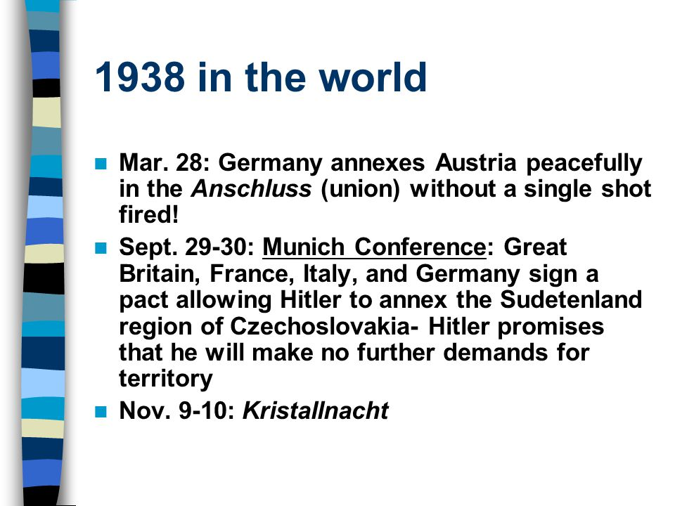 1938 in the world Mar. 28: Germany annexes Austria peacefully in the Anschluss (union) without a single shot fired! Sept. 29-30: Munich Conference: Gr