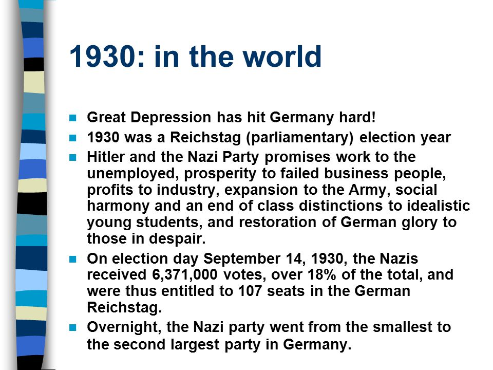 1930: in the world Great Depression has hit Germany hard.
