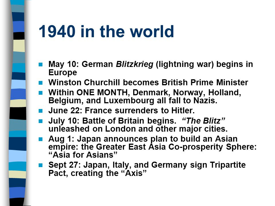 1940 in the world May 10: German Blitzkrieg (lightning war) begins in Europe Winston Churchill becomes British Prime Minister Within ONE MONTH, Denmar