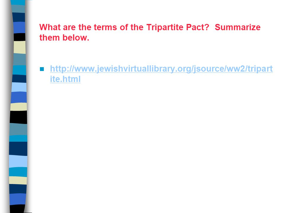 What are the terms of the Tripartite Pact. Summarize them below.