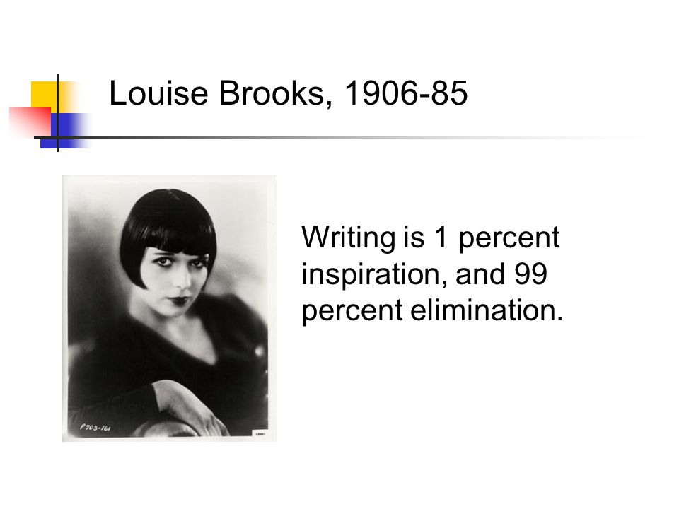 Louise Brooks, 1906-85 Writing is 1 percent inspiration, and 99 percent elimination.