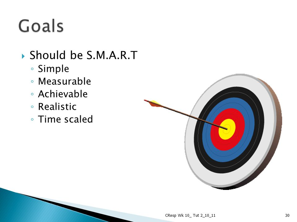  Should be S.M.A.R.T ◦ Simple ◦ Measurable ◦ Achievable ◦ Realistic ◦ Time scaled CResp Wk 10_ Tut 2_10_1130 Goals