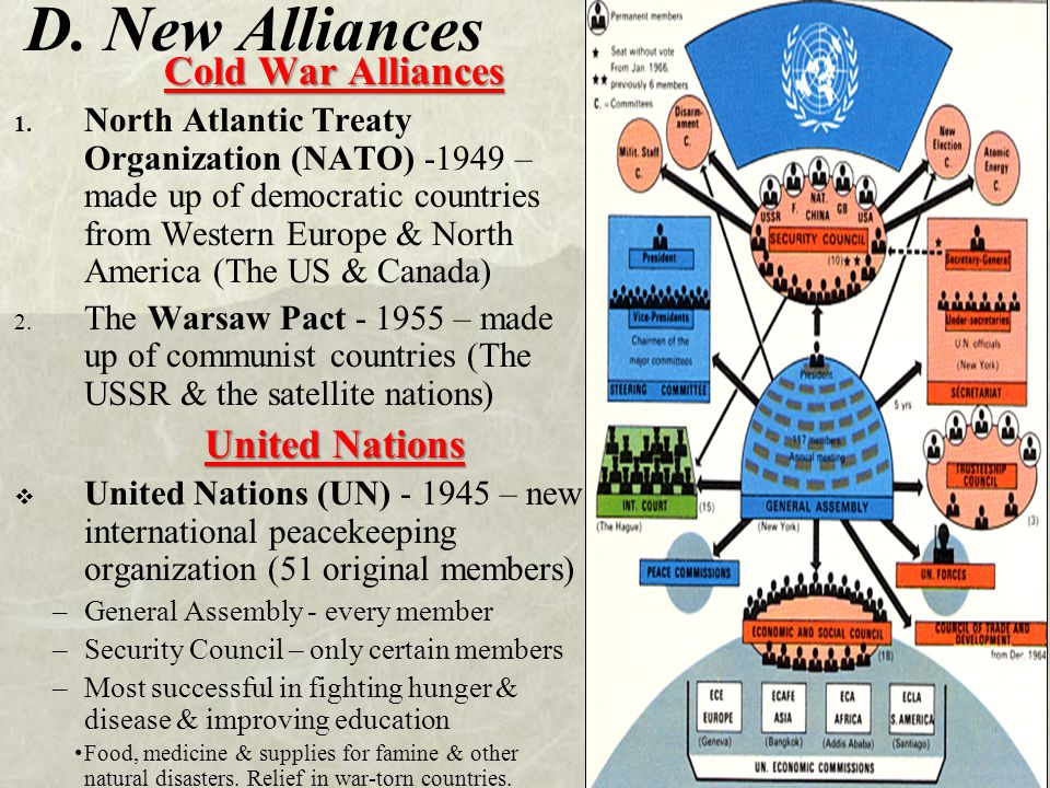 D. New Alliances Cold War Alliances 1. North Atlantic Treaty Organization (NATO) -1949 – made up of democratic countries from Western Europe & North A