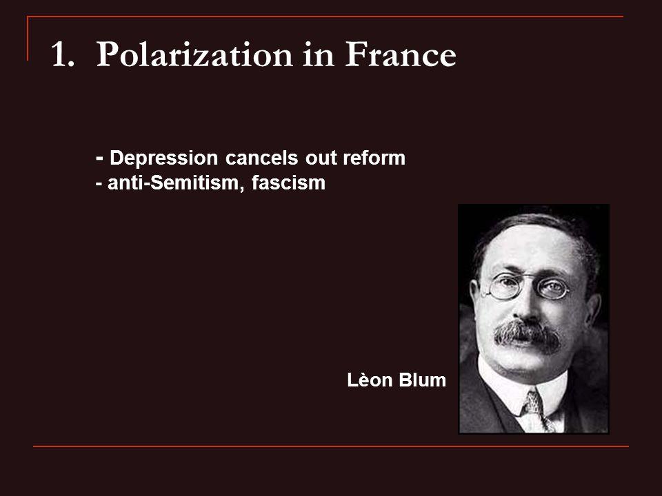 1. Polarization in France - Depression cancels out reform - anti-Semitism, fascism Lèon Blum
