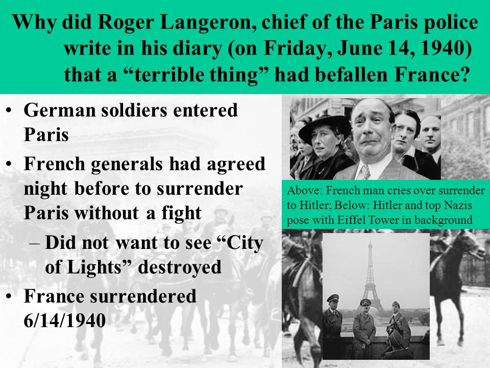 Why did Roger Langeron, chief of the Paris police write in his diary (on Friday, June 14, 1940) that a terrible thing had befallen France.