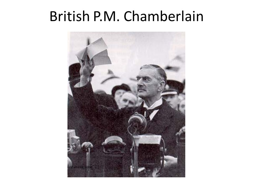 Appeasement: Who: Neville Chamberlain (PM of Great Britain), Hitler, Mackenzie King (PM of Canada) What: Appeasement means giving in to someone provid