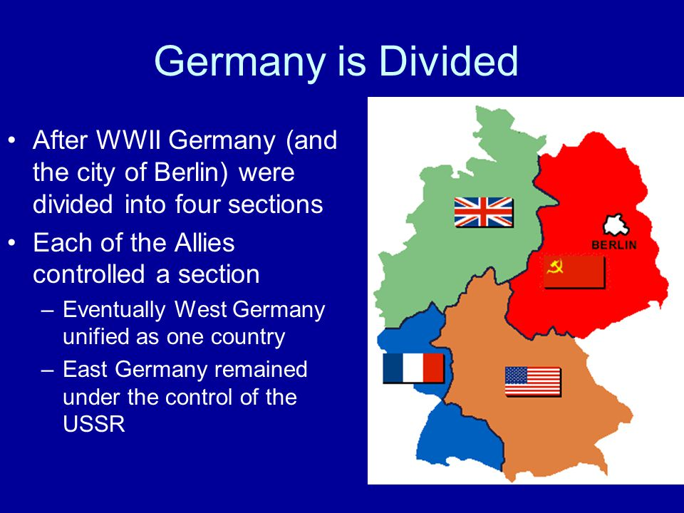 Germany is Divided After WWII Germany (and the city of Berlin) were divided into four sections Each of the Allies controlled a section –Eventually Wes