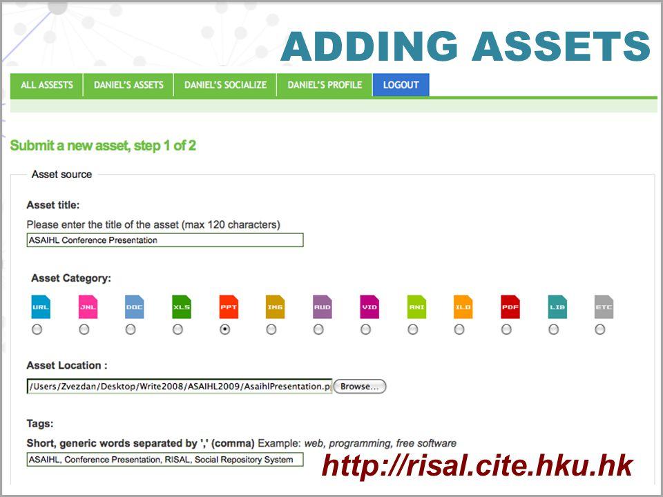 ADDING ASSETS http://risal.cite.hku.hk