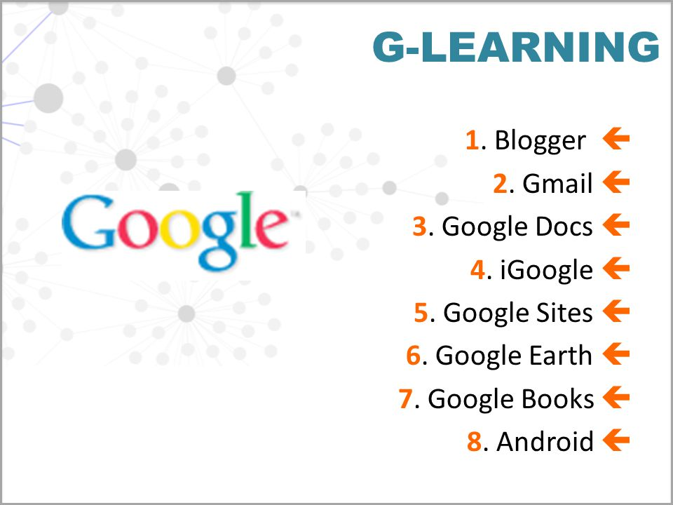G-LEARNING 1. Blogger  2. Gmail  3. Google Docs  4.