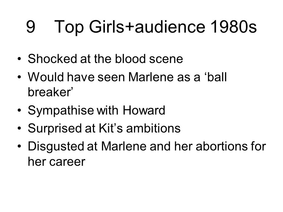 9Top Girls+audience 1980s Shocked at the blood scene Would have seen Marlene as a 'ball breaker' Sympathise with Howard Surprised at Kit's ambitions Disgusted at Marlene and her abortions for her career