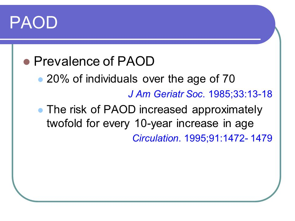 PAOD Prevalence of PAOD 20% of individuals over the age of 70 J Am Geriatr Soc.