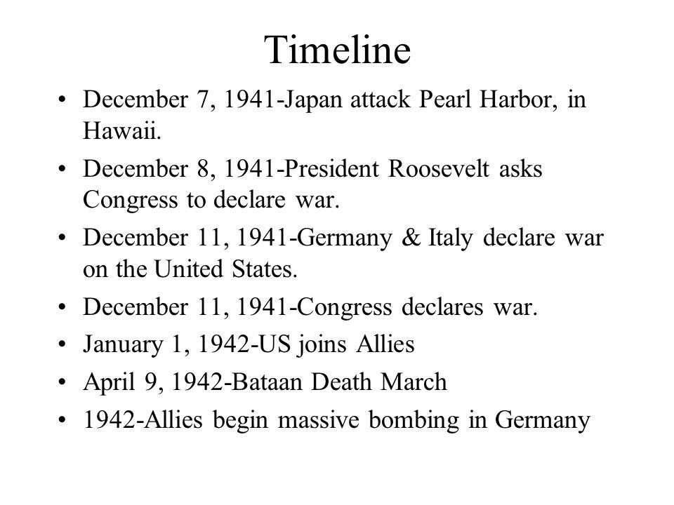 Timeline December 7, 1941-Japan attack Pearl Harbor, in Hawaii.
