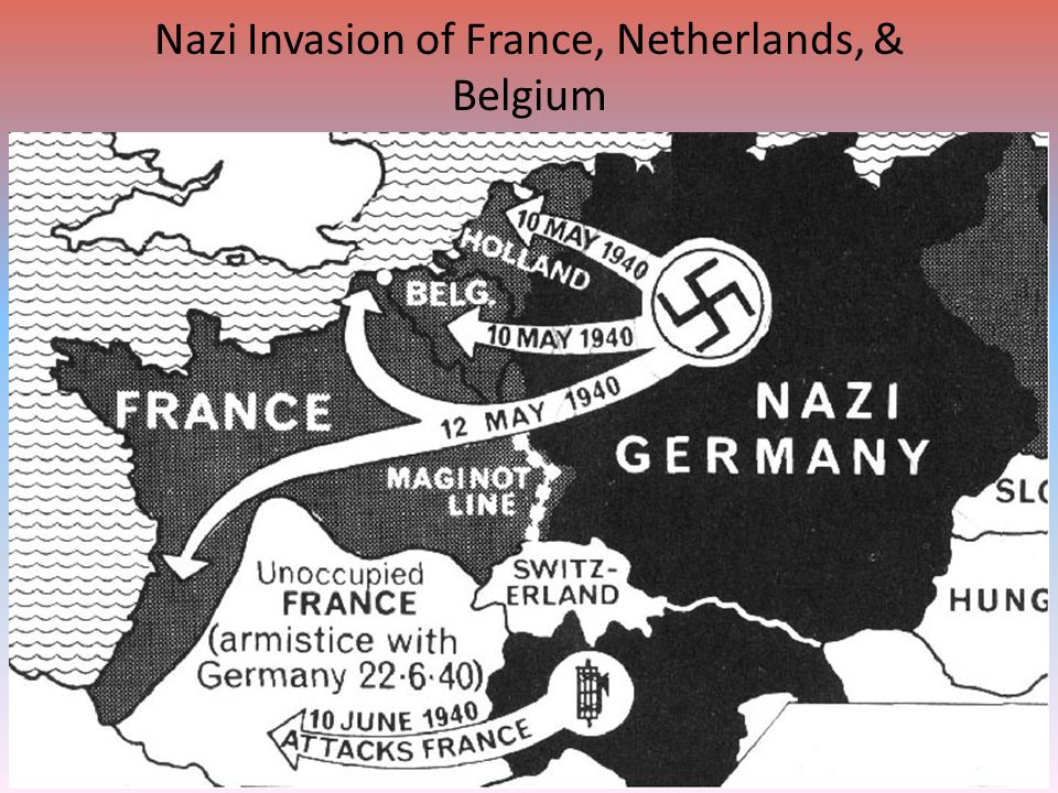 "Fighting in Early 1940 After invasion of Poland, Germany was idle for 7 months – ""Phony War"" or ""Sitzkrieg"" April 9, 1940: Germany invades Denmark and"