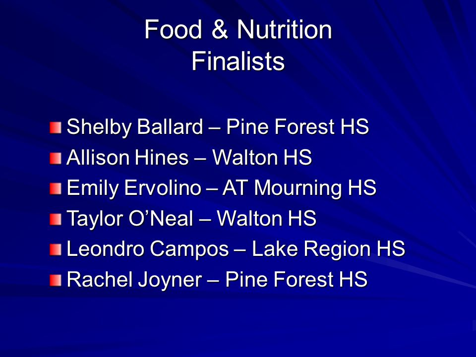 Food & Nutrition Finalists Shelby Ballard – Pine Forest HS Allison Hines – Walton HS Emily Ervolino – AT Mourning HS Taylor O'Neal – Walton HS Leondro