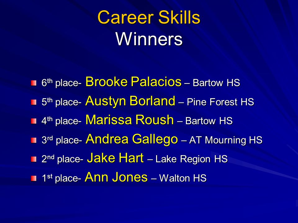 Career Skills Winners 6 th place- Brooke Palacios – Bartow HS 5 th place- Austyn Borland – Pine Forest HS 4 th place- Marissa Roush – Bartow HS 3 rd p