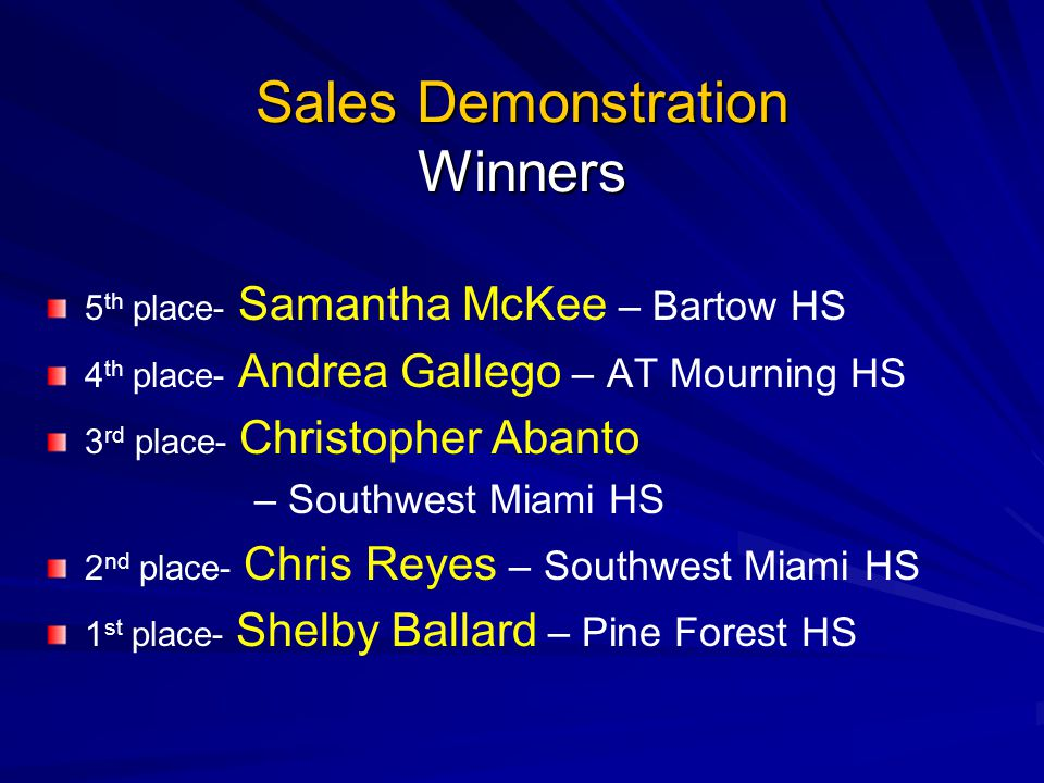 Sales Demonstration Winners 5 th place- Samantha McKee – Bartow HS 4 th place- Andrea Gallego – AT Mourning HS 3 rd place- Christopher Abanto – Southw