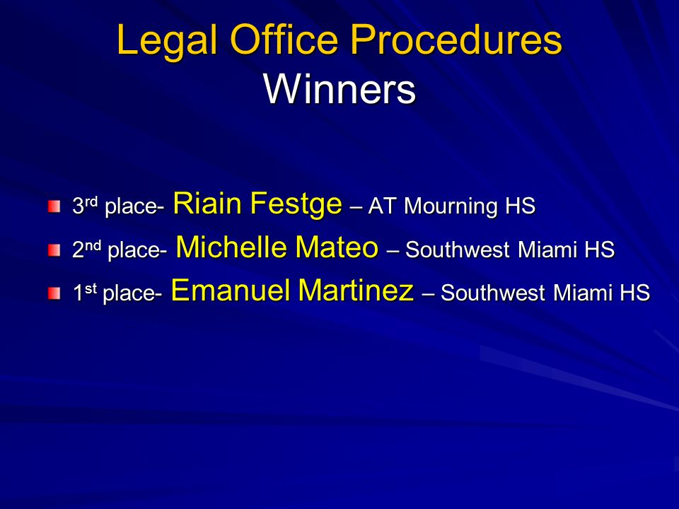 Legal Office Procedures Winners 3 rd place- Riain Festge – AT Mourning HS 2 nd place- Michelle Mateo – Southwest Miami HS 1 st place- Emanuel Martinez