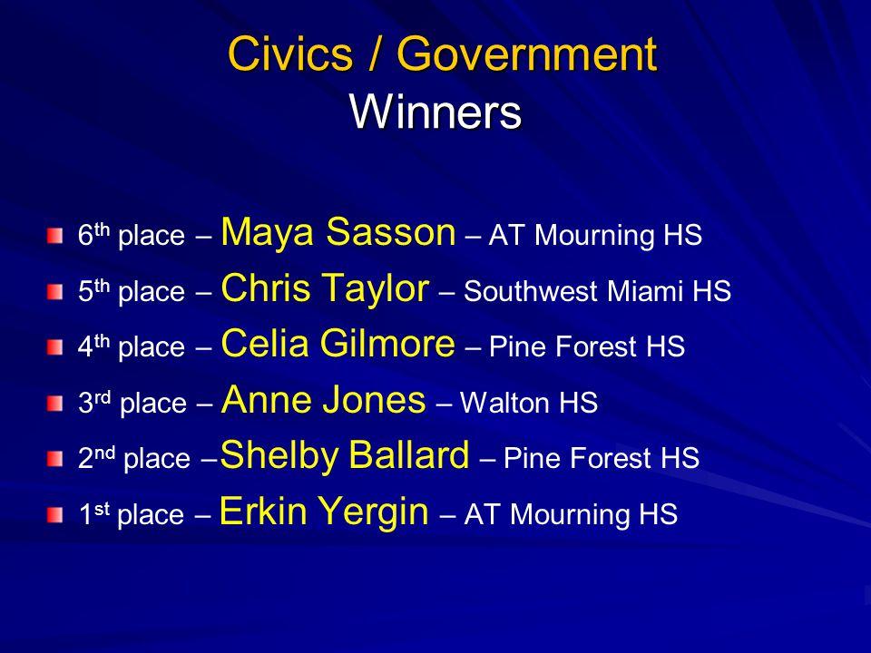 Prepared Speech Finalists Marianna Becerra – AT Mourning HS Jalen Jones – Walton HS Amanda Alvarez – Southwest Miami HS Rachel Joyner – Pine Forest HS