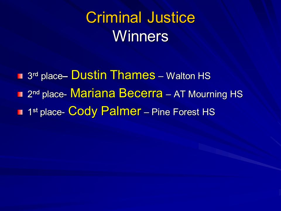 Criminal Justice Winners 3 rd place– Dustin Thames – Walton HS 2 nd place- Mariana Becerra – AT Mourning HS 1 st place- Cody Palmer – Pine Forest HS